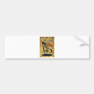 American cavalry soldier riding horse flag vintage car bumper sticker