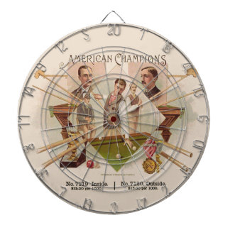 American Champions Billiards Vintage Cigar Label Dart Board