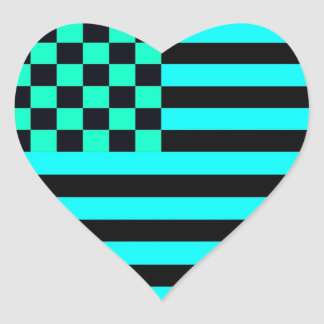 American Checkered Flag 1 Inverse University GB Heart Sticker