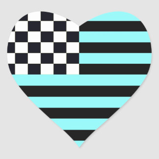 American Checkered Flag 1 Inverse University Heart Sticker