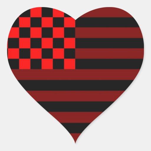 American Checkered Flag 1 IUR Heart Sticker