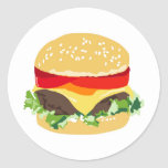 American cheeseburger round stickers