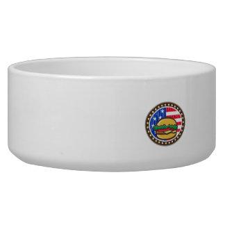American Cheeseburger USA Flag Oval Cartoon Bowl