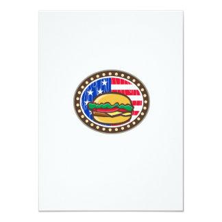 American Cheeseburger USA Flag Oval Cartoon Card