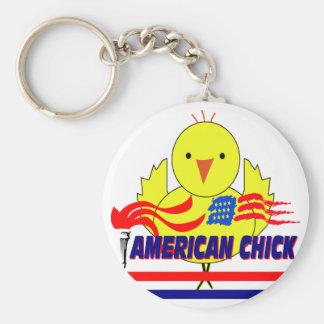 American Chick Basic Round Button Keychain