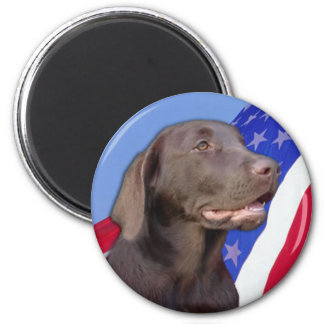 American Chocolate Labrador 2 Inch Round Magnet