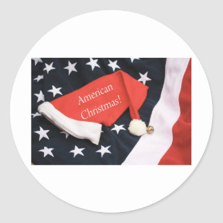 American Christmas Round Stickers