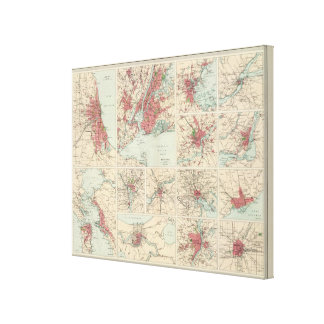 American cities on uniform scale canvas print