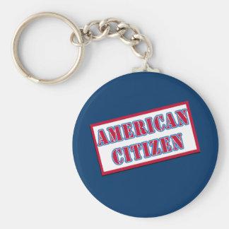 American Citizen Basic Round Button Keychain