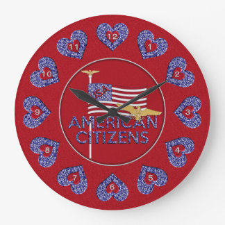 American Citizens Round Wall Clock RED