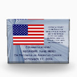 """American Citizenship Flag Award by Janz with Date<br><div class=""""desc"""">Custom American Citizenship Award Designs by Janz &#169; 2008-2017 Jan Fitzgerald. All rights reserved. Design,  Artwork,  &amp; Photography by Jan &amp; Michael Fitzgerald...  4 Awards SOLD to date ;-)</div>"""