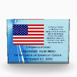 """American Citizenship Flag Award with Date by Janz<br><div class=""""desc"""">Custom American Citizenship Award Designs by Janz &#169; 2008-2017 Jan Fitzgerald. All rights reserved. Design,  Artwork,  &amp; Photography by Jan &amp; Michael Fitzgerald...  5 Awards SOLD to date ;-)</div>"""