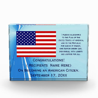 American Citizenship Flag Award with Date by Janz