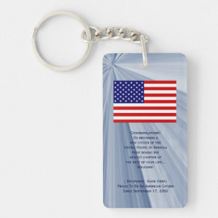 American Citizenship Flag Award with Date by Janz Keychain