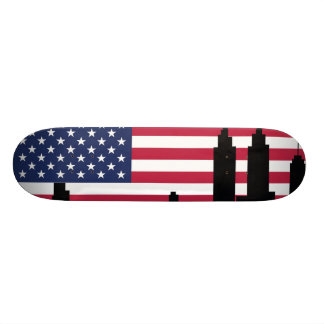 American city background skateboard deck