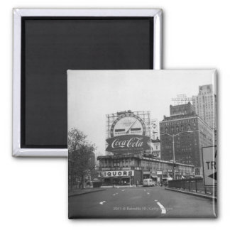 American city with commercial billboards 2 inch square magnet