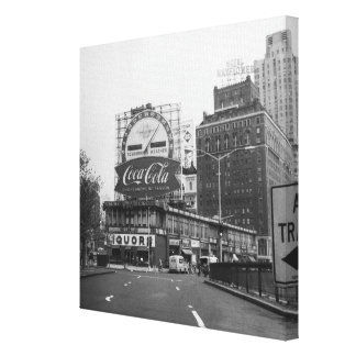 American city with commercial billboards canvas print