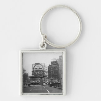 American city with commercial billboards Silver-Colored square keychain