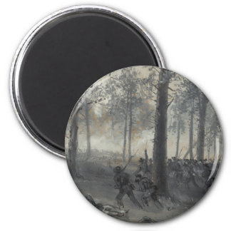 American Civil War Battle of Chickamauga by Waud 2 Inch Round Magnet
