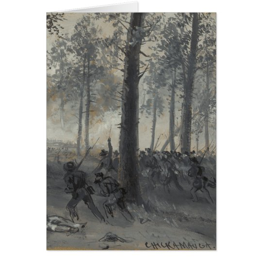 American Civil War Battle of Chickamauga by Waud Card