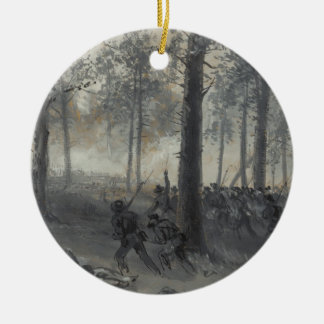American Civil War Battle of Chickamauga by Waud Double-Sided Ceramic Round Christmas Ornament