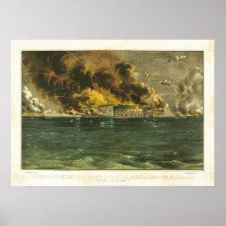 American Civil War Bombardment of Fort Sumter 1861 Poster