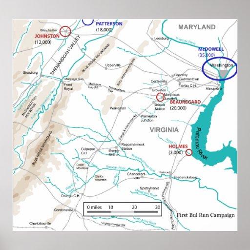 american civil war first battle of bull run map poster