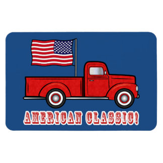 American Classic Pick-up Truck and Flag Magnet