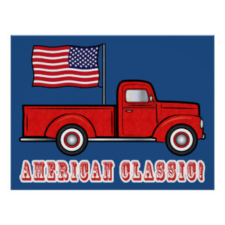 American Classic Pick-up Truck and Flag Poster