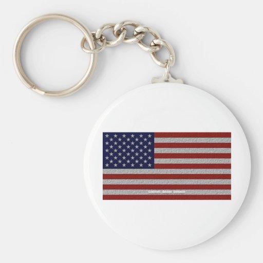 American Cloth Flag Basic Round Button Keychain