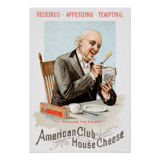 American Club House Cheese Vintage Food Ad Art Poster