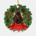 American Cocker Spaniel Christmas Holiday Wreath Christmas Ornaments