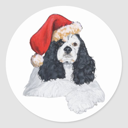 American Cocker Spaniel Christmas Round Sticker