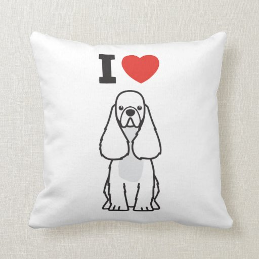 American Cocker Spaniel Dog Cartoon Throw Pillow