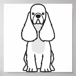 American Cocker Spaniel Dog Cartoon Poster