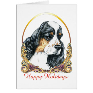 American Cocker Spaniel Parti Happy Holidays Greeting Card