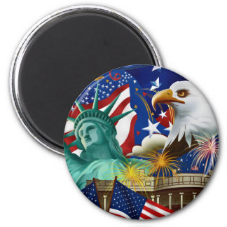 AMERICAN COLLAGE 2 INCH ROUND MAGNET