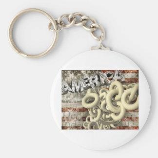 American Collage Basic Round Button Keychain