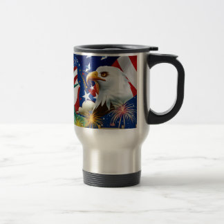 AMERICAN COLLAGE TRAVEL MUG