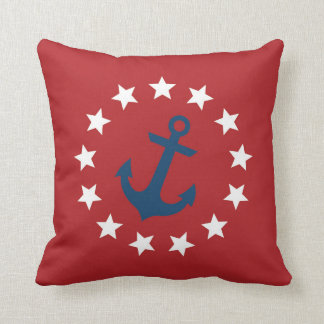 American Colonial Flag Stars and Anchor Throw Pillow