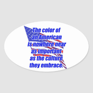 American color or culture oval sticker