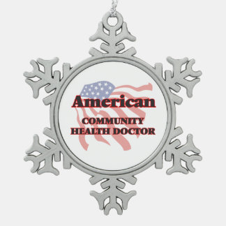 American Community Health Doctor Snowflake Pewter Christmas Ornament