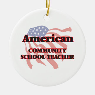 American Community School Teacher Double-Sided Ceramic Round Christmas Ornament
