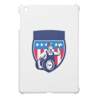American Construction Worker Beer Keg Crest Retro iPad Mini Cases