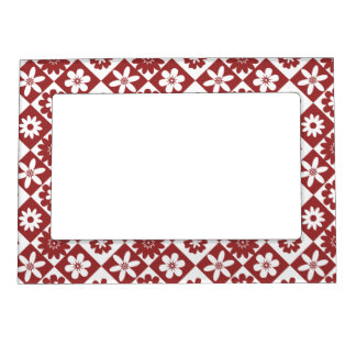 American Country Style Red and White Floral Photo Frame Magnet