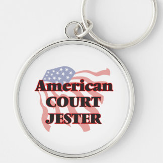 American Court Jester Silver-Colored Round Keychain