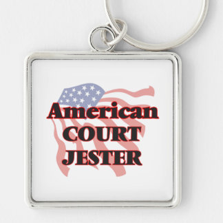 American Court Jester Silver-Colored Square Keychain