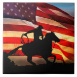 """American Cowboy Art Tile<br><div class=""""desc"""">A beautiful and colorful way to display your American colors! This art tile features an cowboy riding his horse with an American Flag in the background.</div>"""