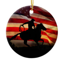 American Cowboy Country Western Christmas Ceramic Ornament
