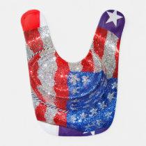 American Cowboy Hat on The USA Flag Baby Bib